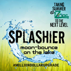Splashier moon-bounce on the lake